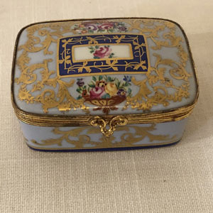 Le Tallec Porcelain Blue Box Beautifully Decorated With Raised Gilding on All Sides