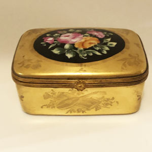 Le Tallec Gold Porcelain Box With Bouquet of Flowers and French Motifs
