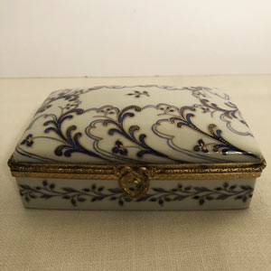 Le Tallec Porcelain Box Embellished With Cobalt and Gold Decoration