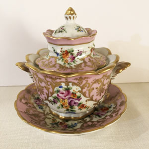 Le Tallec Pink Covered Bowl Covered With Hand-Painted Flowers and Raised Gilding