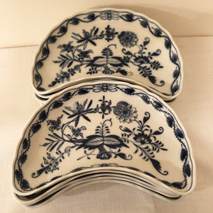 Meissen Blue Onion Large Crescent Shaped Dishes