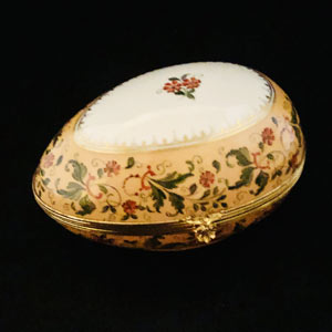 Le Tallec Egg Shaped Porcelain Box Painted With Peach Flowers and Green Leaves