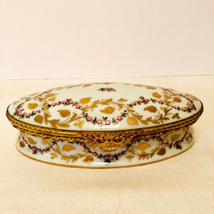 Le Tallec Box With Raised Gilded Leaves and Raspberries and Ribbon of Flowers