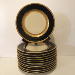 Set of Twelve Czecheslovakian Cobalt Dinner Plates With Gold Decorated Borders