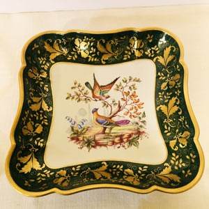 Emerald Green Le Tallec Bowl Painted With Two Colorful Birds Accented With Raised Gilding