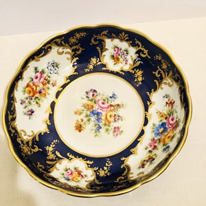 Le Tallec Blue Bowl With Central Flower Bouquet and Four Other Bouquets Around the Border