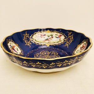 Le Tallec Royal Blue Bowl With Four Cartouches of Exotic Birds With Raised Gold Embellishments