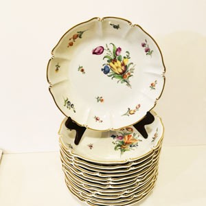 Set of Fourteen Nymphenburg Deep Bowls Each Painted With a Different Flower Bouquet