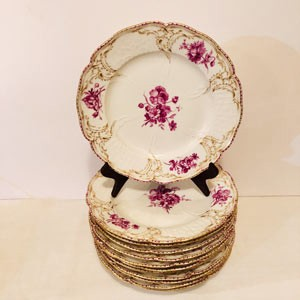 Set of Twelve KPM Dinner Plates Each Painted With Different Puce Colored Flower Bouquets