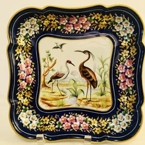 Le Tallec Blue Bowl Painted with Exotic Birds Surrounded by A Border of Colorful Flowers